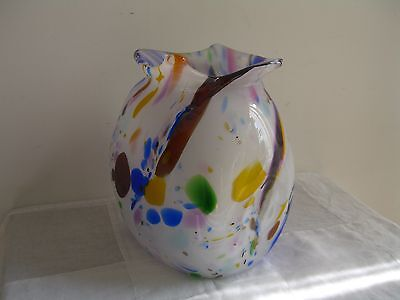 Decorative multicolour heavy glass vase, excellent condition