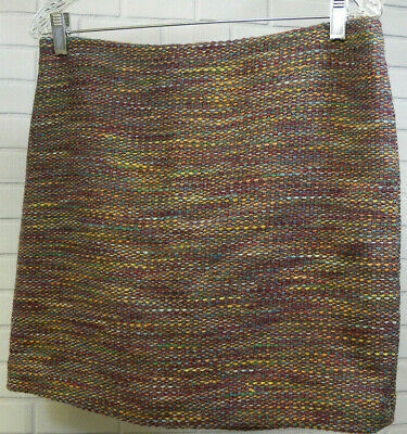 6589274e66 Ll Bean Wool Blend Textured Skirt Red Multi Knit Size 8 Lined Straight  Pencil