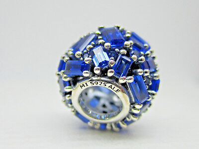 Authentic Pandora #797746NSBL Chiselled Elegance Bead with Blue Crystal