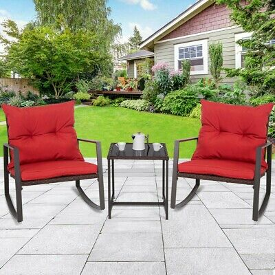 3 PCS Patio Rocking Wicker Bistro Set-Red----MAY TAKE UP TO 21 DAYS DELIVERY