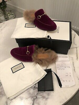 70be3474fb1 GUCCI PINK PRINCETOWN velvet fur lined mules Size 37 -  305.28 ...