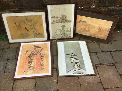 Set Of 5 Antique/Vintage Oriental Chinese Picture Prints Stamped On Reverse