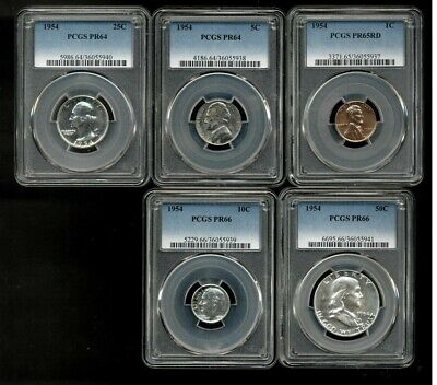 Complete 1954 PCGS Graded Silver Proof Set PR64/PR66 Uncirculated Condition