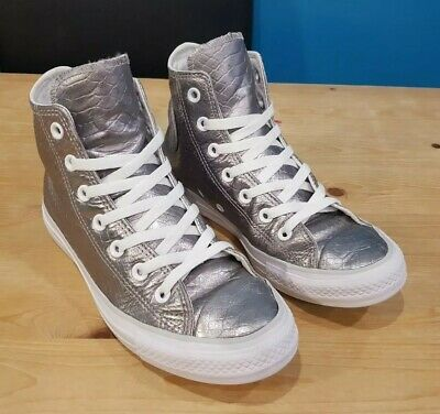 8a22276ee9e6 All Star Converse High Top Silver Leather Snake Skin Trainers Size Uk 5 Eu  37.5