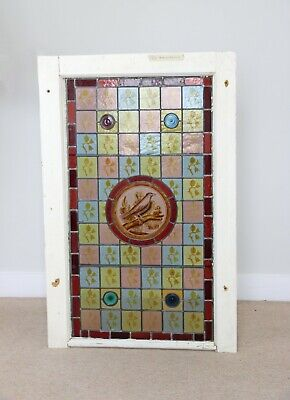 Stained Glass Antique Leaded Victorian Window with Decorative Bird Detail