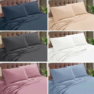 Micro Flannel Flannelette 40cm Sheet Set Single King Single Double Queen King