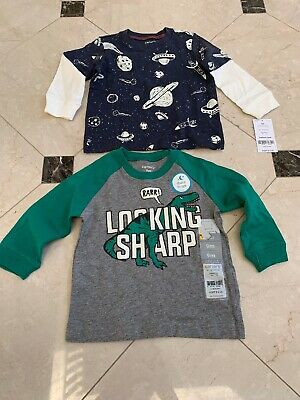 Baby Boy Size 9 Months Carter's Long Sleeve Shirts $32 Value Green Beige Gray NW
