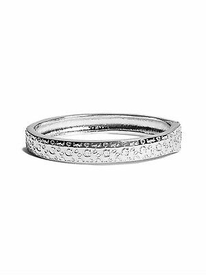 Genuine GUESS Womens Silver Logo Embossed Bangle Bracelet with Hinge Close NEW