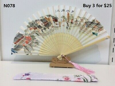 Japanese Silk Fan -River Village with Silk Fan Holder-N078