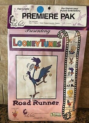 Vintage 1987 Looney Tunes Road Runner Pretty Punch Dial-a-loop Embroidery Kit