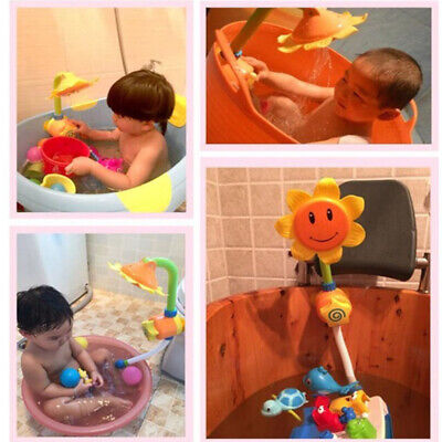 Children Bath Learning Press Kids Shower Faucet Water Game Toy Sunflower Spray