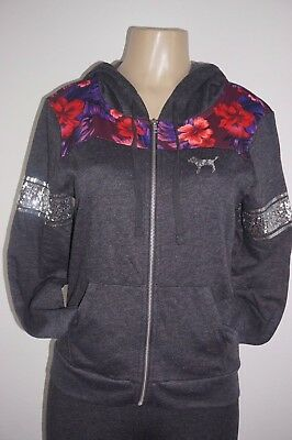 95cfa8a81d6fe VICTORIA'S SECRET PINK Perfect Full-Zip Hoodie Floral Bling Bling Sequin  Small
