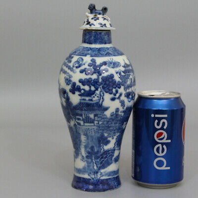 A 19Th Century Chinese Qing Dynasty Antique Blue & White Porcelain Vase & Lid