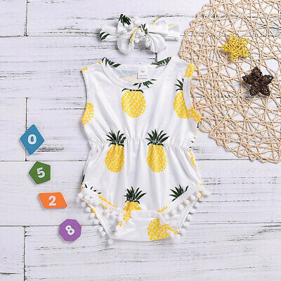 Newborn Toddler Infant Baby Kid Girl Cotton  Jumpsuit Romper Bodysuit+Headband