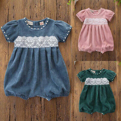 Newborn Toddler Infant Baby Kid Girl Corduroy Lace Short Sleeve Romper Jumpsuit