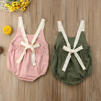 Newborn Toddler Infant Baby Kid Girl Backless Romper Bodysuit  Jumpsuits Dress