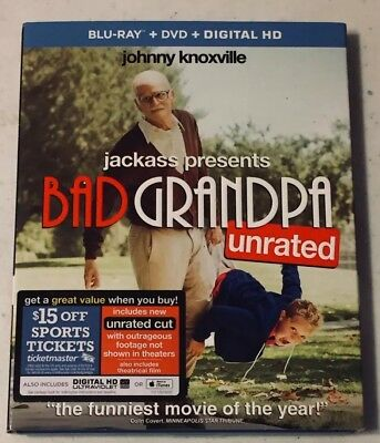 BAD GRANDPA (Blu-Ray + DVD, 2014) Johnny Knoxville -Like New *Free Shipping*