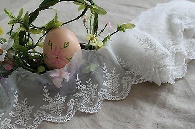 Fabulous Lace Trim Embroidered Floral on Mesh Tulle 1 yd Fast Shipping