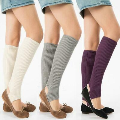 Women High Knee Stocking Leg Warmers Cable Knit Knitted Crochet Socks FW