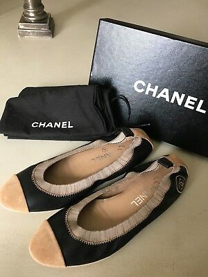 bedfed04e15b Chanel Flats Ballerines Black and Tan Shoes Size 37.5