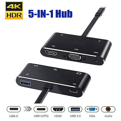 5in1 USB C to HDMI VGA Hub Adapter Type C to HDMI USB3.0 Port Dongle Converter