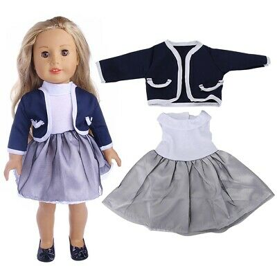 Baby Fashionable Toy Accessories Dress Two-piece Suit for 18inch Doll Clothes BD