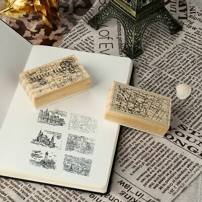 Kids Toys Writing Vintage Wooden Stamp Rubber Scrapbooking Retro Pattern