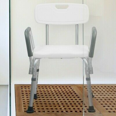 Aluminium Medical Shower Bench Chair Bath Aid Seat, Height Adjustable Anti Slip