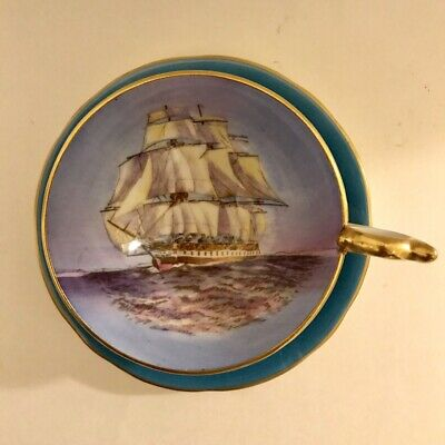 Aynsley Tall Ship turquoise Cup and Saucer