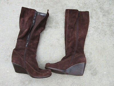 fcfc98c13be AEROSOLES Gather Round Sz 7 Brown Suede Leather Wedge Knee High Boots -bin  40