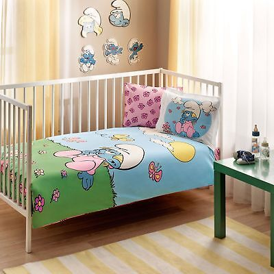 100% Organic Cotton Smurfs Soft and Healthy Baby Crib Bed Duvet Cover Set 4 Pcs