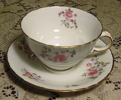 Royal Sutherland Pink Roses Cup and Saucer Set Fine Bone China Made in England