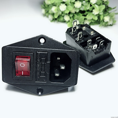 3 Pin IEC320 C14 AC Inlet Male Plug Power Socket With Fuse Switch 10A 250V RM571