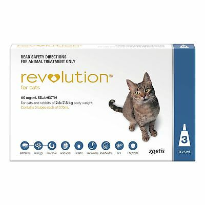Revolution for Cats and Rabbits 2.6 - 7.5kg Blue 3 Pack Long Expiry