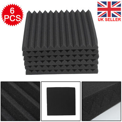 New 6PCS Acoustic Panels Tiles Studio Sound Proofing Insulation Closed Cell Foam