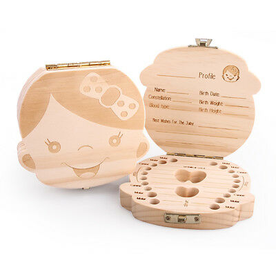 Kids Baby Tooth Box Organizer Save Milk Teeth Wood Storage Box For Boys Girls