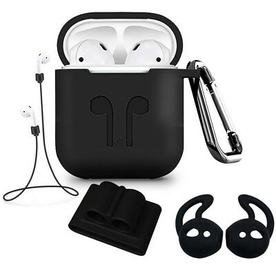 Silicone Earphones Charger Case Cover Protective Carabiner Set For Apple AirPods