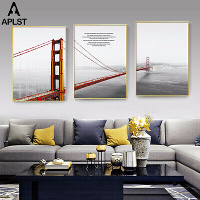 Canvas HD Print Painting California Golden Gate Bridge Poster Hazy Style Picture