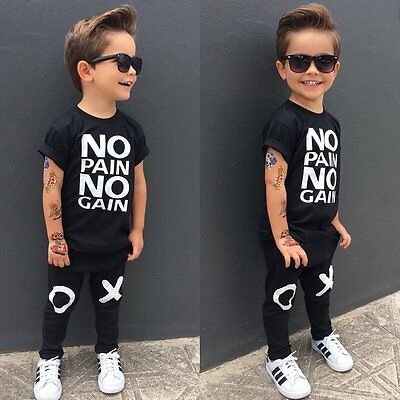 Fashion Toddler Kids Boys Newborn Top T-shirt+Long Pants Baby Clothes Outfits