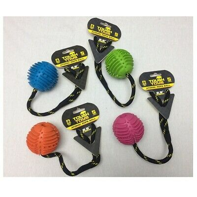 Happy Pet Atomic Rope Ball Dog Toy Strong Puppy Rubber Chew Tough Fetch Tug Fun