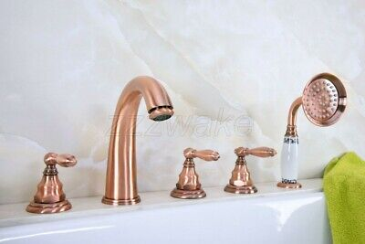 Antique Red Copper 5pcs Roman Bath Tub Sink Faucet with Hand Shower Spray Ztf236