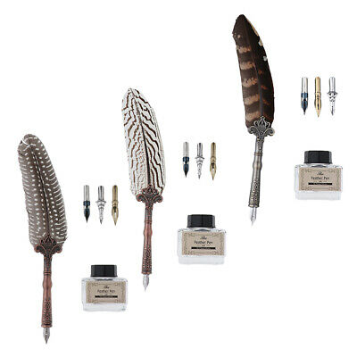 Great Gift Blue Feather Pewter Quill Set 7225BL Calligraphy Set