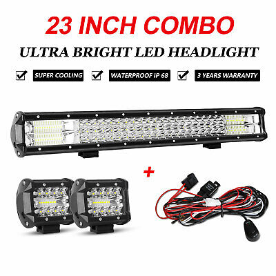 23inch Tri-row LED Combo Work Light Bar + 4'' Spot Flood Cube Pods Offroad Truck