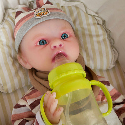 IVITA Reborn Doll Rooted Hair Silicone Lifelike Baby Blue Eyes Take A Pacifier #