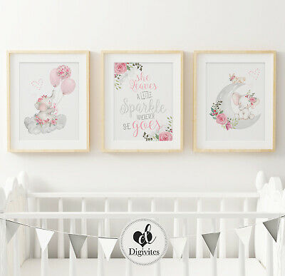 Nursery Wall Art Prints Elephants, Sparkle, Moon, Floral, Clouds, Balloons