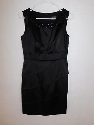 618356d2518d EUC Dressbarn Collection Cocktail Dress Women's Petite Size 6 Bead Black  Layered