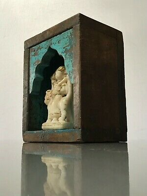 Antique Vintage Indian Furniture. Arched, Wall Hanging Shrine. Turquoise.