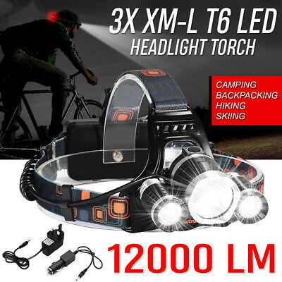 UK 12000LM 3x CREE XML CREE T6 LED Rechargeable Head Torch Headlamp  Light  Lamp