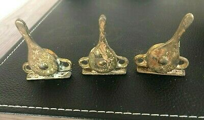 Antique Solid Brass Window Rotating Latches (3) Screw-In 1900s Salvage