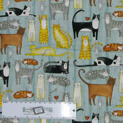 Patchwork Quilting Sewing Fabric MEOW CATS Allover Material 50x55cm FQ New